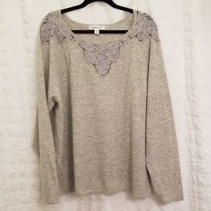 Coldwater Creek 3x Grey Lambswool blend sweater